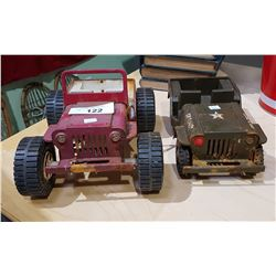 TWO VINTAGE JEEP STEEL PRESSED TOYS