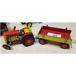 VINTAGE TIN TOY TRACTOR & WAGON
