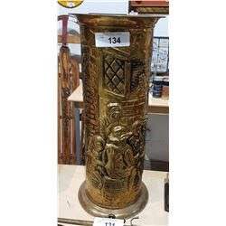 VINTAGE BRASS EMBOSSED UMBRELLA STAND