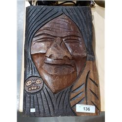 VINTAGE NATIVE CARVED PLAQUE