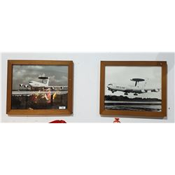 PAIR VINTAGE BLACK/WHITE NATO AIRPLANE PHOTOS IN WOOD FRAMES
