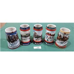 LOT OF 5 COLLECTIBLE BUDWEISER BEER STEINS