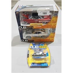 LOT OF 3 DIE CAST CARS IN BOX