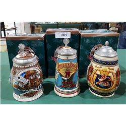 LOT OF 3 NIB COLLECTIBLE BUDWEISER BEER STEINS