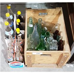 LOT OF COLLECTIBLE POP BOTTLES & WOOD CRATE