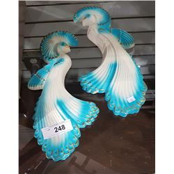 VINTAGE PAIR CHALKWARE PEACOCK WALL PLAQUES