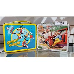 TWO VINTAGE METAL LUNCH BOXES