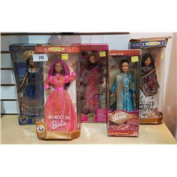 5 COLLECTIBLE BARBIES NEW IN PACKAGE