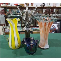 LOT OF 4 ART GLASS VASES