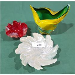 LOT OF 3 MURANO ART GLASS PIECES
