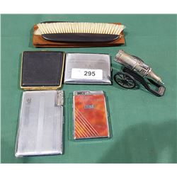 COLLECTION OF VINTAGE CIGARETTE CASES, LIGHTER, CLOTHING BRUSHES