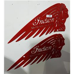 PAIR STEEL INDIAN HEAD MOTORCYCLE SIGNS