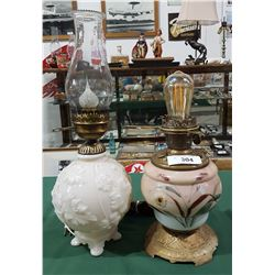 ANTIQUE OIL LAMP(ELECTRIFIED) & EMBOSSED GLASS TABLE LAMP