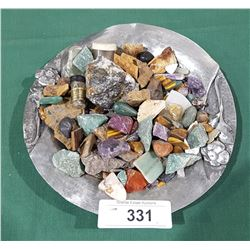 COLLECTION OF ROCKS ON PEWTER PLATE