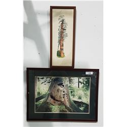 WATERCOLOUR AND OIL PAINTING OF NATIVE CARVINGS