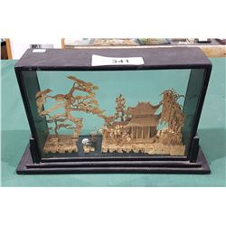 ASIAN HAND CARVED SCENE IN DISPLAY CASE