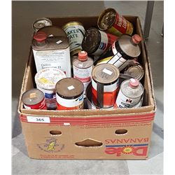 BOX LOT OF OIL TINS