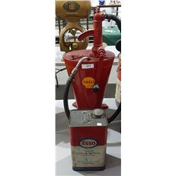SHELL OIL LUBESTER & 1 GALLON ESSO CAN