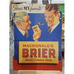 VINTAGE CARDBOARD BRIERS TOBACCO SIGN