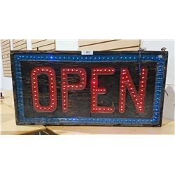 DOUBLE SIDED VINTAGE LIGHT UP OPEN SIGN