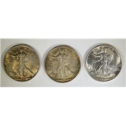 3-CH BU 1945-S WALKING LIBERTY HALF DOLLARS