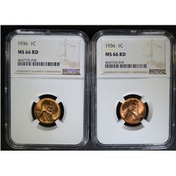2 - 1936 LINCOLN CENTS NGC MS 66RD
