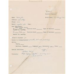 Steve Jobs Signed Job Application