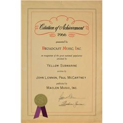 Beatles BMI 'Yellow Submarine' Certificate