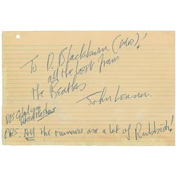 John Lennon Handwritten Note Signed