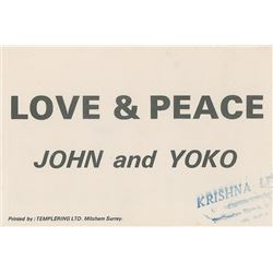 John Lennon and Yoko Ono 'Love & Peace' Flyer