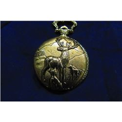 "NEW GOLDTONE ""DEER"" POCKET WATCH"