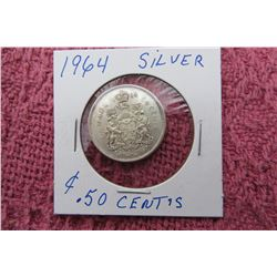 1964 CANADIAN SILVER FIFTY CENT COIN