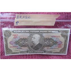 BRASIL FIVE CINCO CRUZEIROS BANK NOTE