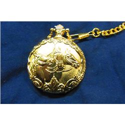 "NEW GOLDTONE ""HORSE"" POCKET WATCH"