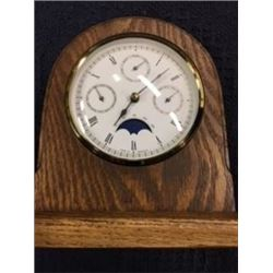 NEW WOOD FRAMED CLOCK WITH BAROMETER