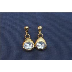 GOLD AND CZ DANGLE EARRINGS