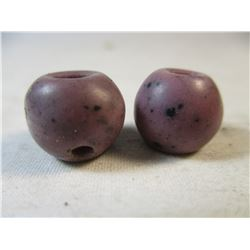 Lot of 2 Purple Czech Glass Antique Trade Beads