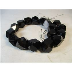 Large Strand Black Onyx Faceted Beads