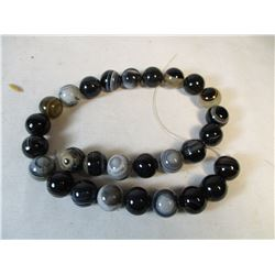 Natural Black Lace Botswana Agate Bead Strand