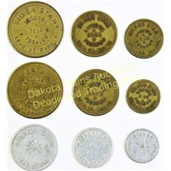 Collection of 9 Silver Star Bar tokens,