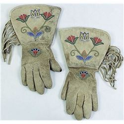 Floral beaded on leather gauntlets