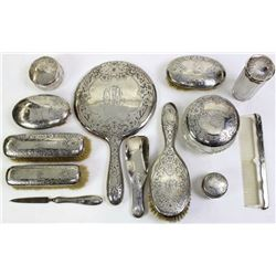 Victorian ladies sterling silver dresser set
