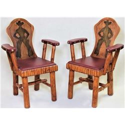 Matching pair Molesworth style keyhole chairs