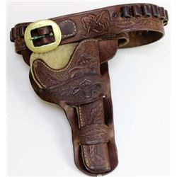 Floral carved double loop holster