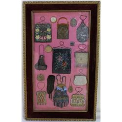 Framed collection of 17 antique purses