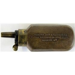 Original brass powder flask for cased Robbins