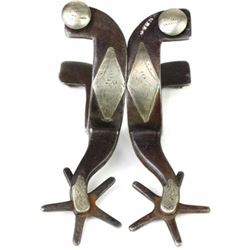 KB & P stamped double mounted spurs