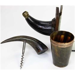 Collection of 3 antique horn items