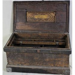 Early wood carpenters trunk with interior trays