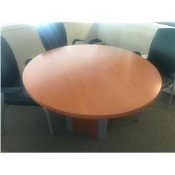 CHERRY 4' ROUND CONFERENCE TABLE & 4 CHAIRS (UPSTAIRS)